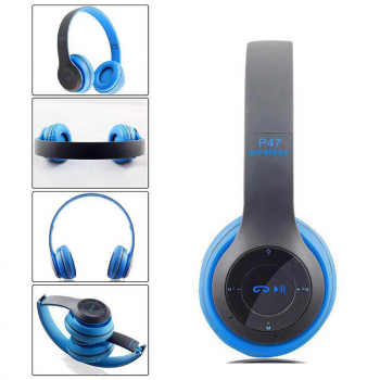 P47 New Foldable Wireless Bluetooth Stereo Headset Handsfree Headphones with Mic - Blue