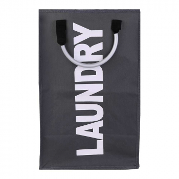 Foldable Laundry Washing Basket Fabric Bag Hamper Dirty Clothes Storage Bin - Dark Grey