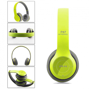 P47 New Foldable Wireless Bluetooth Stereo Headset Handsfree Headphones with Mic - Green