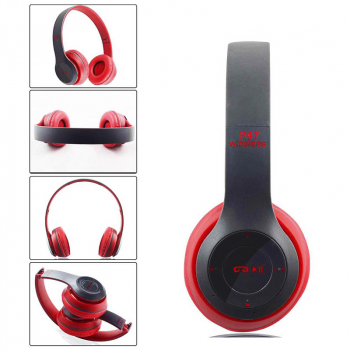 P47 New Foldable Wireless Bluetooth Stereo Headset Handsfree Headphones with Mic - Red