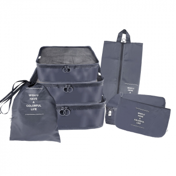 7pcs Waterproof Travel Storage Bags Clothes Packing Cube Luggage Organiser Pouch - Grey