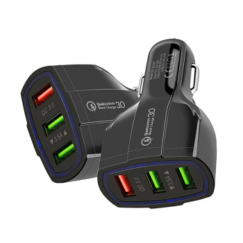 Quick Charger 3.0 Car Charger Adapter 3.5A Fast Charging 3 USB Ports Vehicle Charger - Black