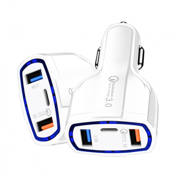Dual USB Ports Type C 3A QC3.0 Fast Charging Car Charger Vehicle Adapter - White