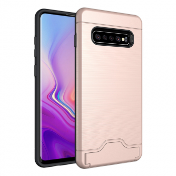 Faux Brushed Metal Texture Card Slot Kickstand PC Silicone Back Case for Samsung Galaxy S10 Plus - Rose Gold