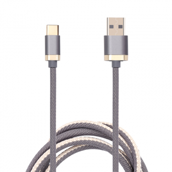 1m High Quality Braided Flexible Type C USB 3.1 Cable Charging Line - Grey