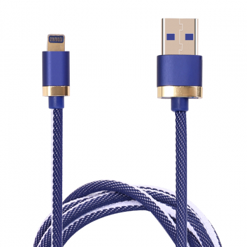 1m USB Date Cable Nylon Braided Charging Lightning Cable for iPad iPhone - Blue