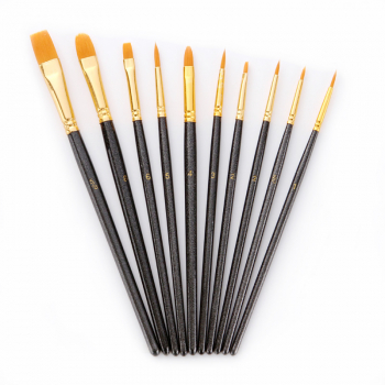 10 Pieces Round Pointed Flat Tip Nylon Hair Watercolor Oil Brush Set - Black