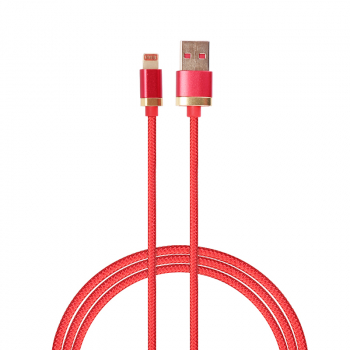 1m USB Date Cable Nylon Braided Charging Lightning Cable for iPad iPhone - Red
