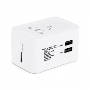 Universal Power Converter Dual USB Travel Wall Charger Adapter Plug Fit for USA Europe UK AUS - White