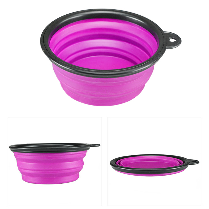 Pet Dog Cat Silicone Collapsible Feeding Bowl Travel Portable Bowl with Metal Buckle - Purple