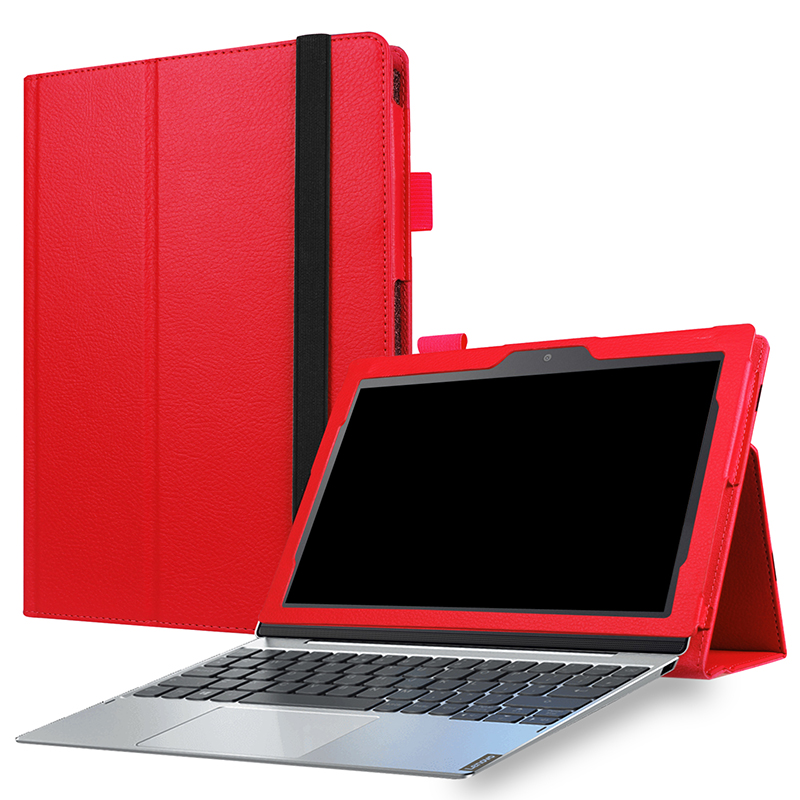 Protective PU Leather Folio Stand Cover Case for Lenovo MIIX 320 10.1 Inch - Red