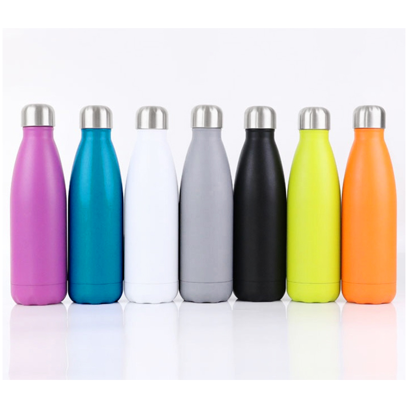 Rubber Paint 500ML Water Flask Stainless Steel Double Wall Vacuum Insulated Keep Hot and Cold Water Bottle - Matte Pink