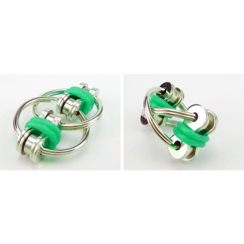 Fidget Toy Hand Spinner Key Ring Chain Toys for Stress Relieve ADHD - Green