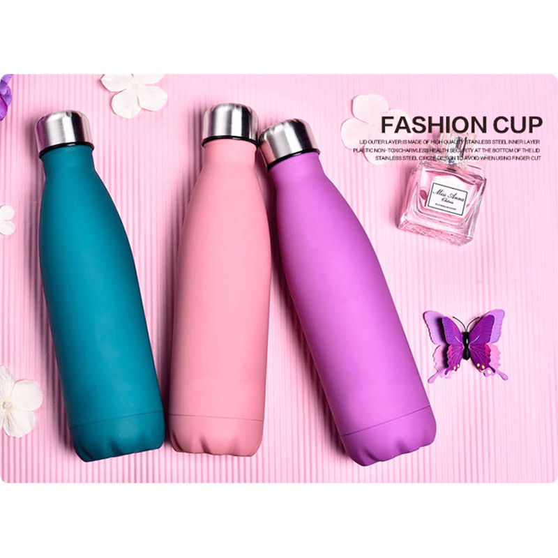 Rubber Paint 500ML Water Flask Stainless Steel Double Wall Vacuum Insulated Keep Hot and Cold Water Bottle - Matte Grass Green
