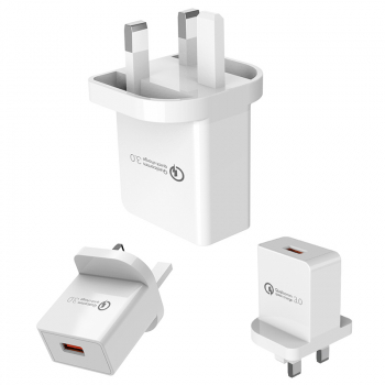 UK Quick Charge 3.0 USB Wall Charger Charging Head with CE Certification - White