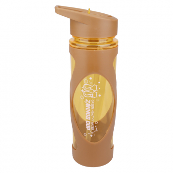 580ML Sports Flip Straw Drinking Water Bottle Sealed Leak-proof Straw Space Bottle with Silicone Sleeve -Brown