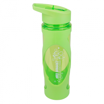 580ML Sports Flip Straw Drinking Water Bottle Sealed Leak-proof Straw Space Bottle with Silicone Sleeve - Green