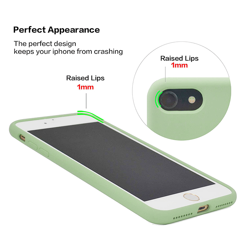 Anti Fingerprint Scratch Resistant Back Cover Soft Silicone Shockproof Cover Smooth Case for iPhone 7/8 - Green