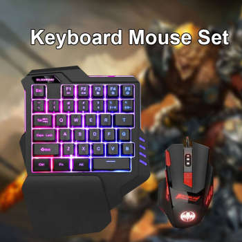 Gaming Keyboard + Mouse Set Anti-slip Wheel USB Wired Single Handedly Keyboard for PS4 Xbox One PC 360 Gaming