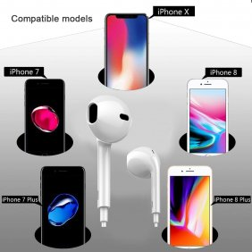 Lightning Bluetooth Earphone Earbuds Wired Bluetooth Earphone for iPhone 7/8/X iPad iPod iOS System