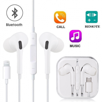 Lightning iPhone Earphones Bluetooth Wired for Apple iPhone with Mic and Volume