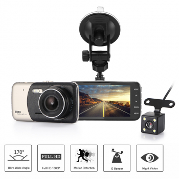 4inch Car Dash Dashboard Video Dual Lens Camera 1080p HD DVR IPS Recorder