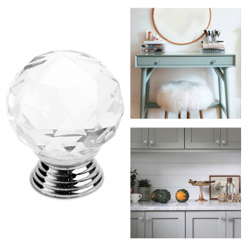 Z805548 Crystal Cut Glass Circle Ball Drawer & Cupboard Pulls Passage Door Knobs