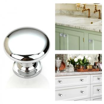 30mm Zinc Alloy Round Stainless Steel Kitchen Cabinet Knobs Drawer Handles Cupboard Knobs