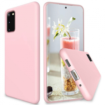 Soft Silicone Mobile Phone Case Protective Back Cover for Samsung Galaxy S20 - Pink