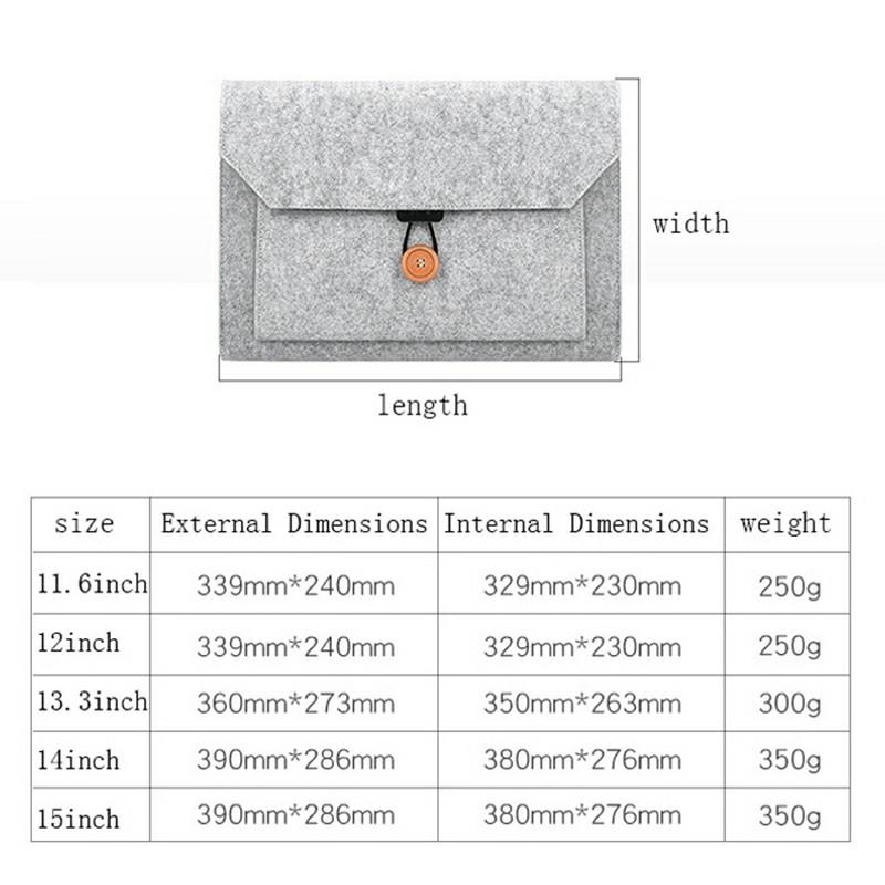 8 Inch Sleeve Felt Laptop Protective Case iPad Mini Series and iPad air 1/2 - Grey