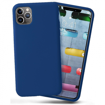 Liquid Silicone Gel Rubber Shockproof Cover Case for iPhone 11 Pro Max - Blue