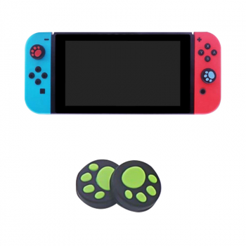 2 pcs Silicone Analog Non-Slip Thumb Grips Stick Cap Case for Nintendo Switch - Black + Green
