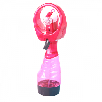 Portable Mist Spray Fan Hand Held Battery Power with Air Water Bottle Misting Cooling - Pink