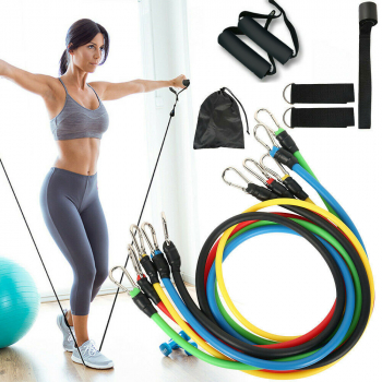 11 pcs Multifunctional and Portable Pull Up Resistance Band Set