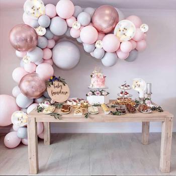 174 pcs Confetti Balloons Arch Kit Chrome Macaron Balloon Wedding Birthday Party Garland