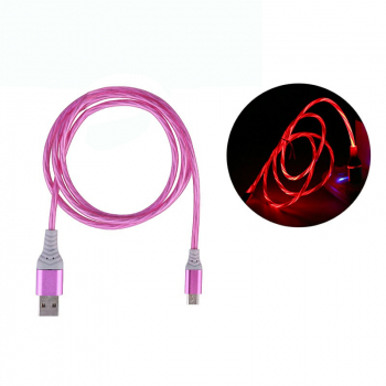 Flashing Micro USB Android Cable Soft Micro USB Charger Cables 1M - Pink