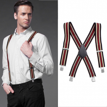 50MM Adjustable Heavy Duty Elastic Mens Braces Trouser Suspenders - Striped