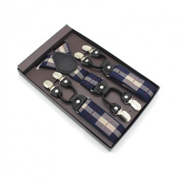 Business Mens Trousers Refined Suspenders Non-slip Shoulder Straps Gift Box Package - Retro Plaid