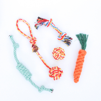 5 pcs Dog Rope Toys Tough Strong Chew Toy Knot Knotted Pet Puppy Healthy Teeth