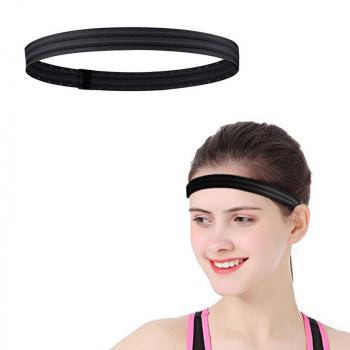 Silicone Non-slip Sports Stop Sweat Wicking Headband Running Head Belt Fitness Yoga Hairband - Black