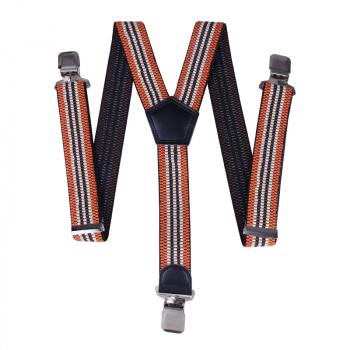 40mm Width Unisex Mens Women Braces Heavy Duty Stripes Suspenders - Brown