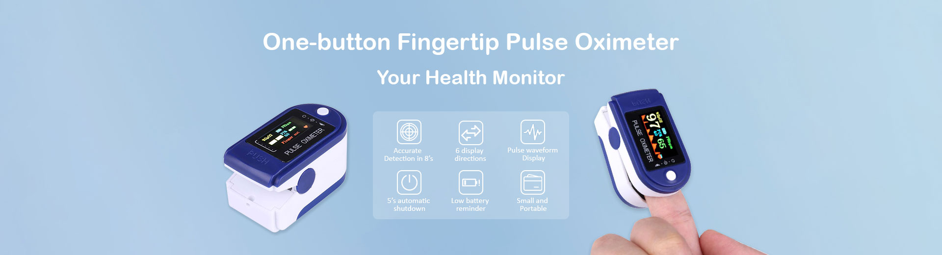 One-button Fingertip Pulse Oximeter
