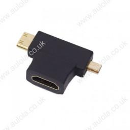 3 in 1 1080p HDMI Female to Micro / Mini HDMI Male Adapter Connector T Shape