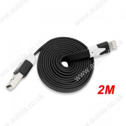 2M Flat Noodle 8 Pin USB Data Charger Cable for iPhone X 8 7 Plus 6 5 - Black