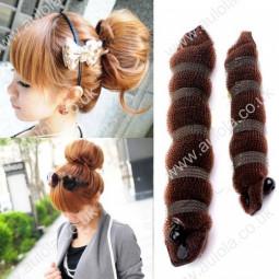 2pcs Large & Small Hot Stylish Bun Hair Maker - Coffee