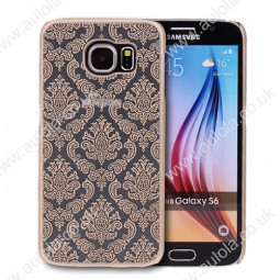 Floral Printed Vintage Style Phone Hard Case for Samsung Galaxy S6 -Gold