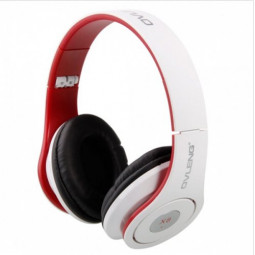 OV-X8 3.5mm Stereo Headphone Headset - White + Red