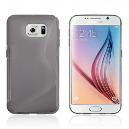 S Shape Wave TPU Soft Case for Samsung Galaxy S6 - Grey