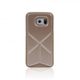 Leather Case with Foldable Stand for Samsung Galaxy S6 Edge - Gold