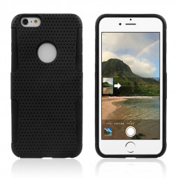 Mesh Honeycomb PC + TPU 2-in-1 Case for iPhone 6 Plus - Black